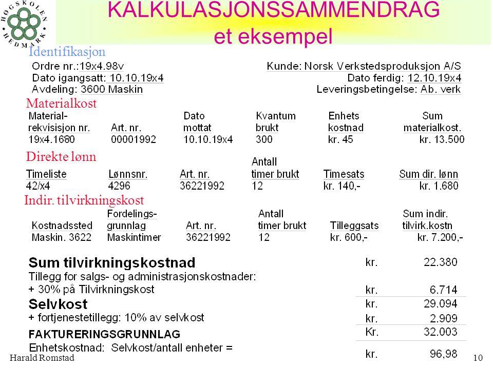 Harald Romstad10 KALKULASJONSSAMMENDRAG et eksempel Identifikasjon Materialkost Direkte lønn Indir. tilvirkningskost
