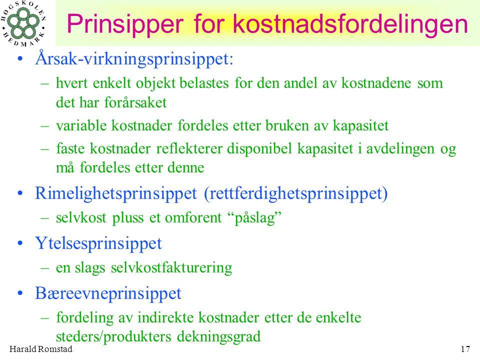 Harald Romstad17 Prinsipper for kostnadsfordelingen Årsak-virkningsprinsippet: –hvert enkelt objekt belastes for den andel av kostnadene som det har f