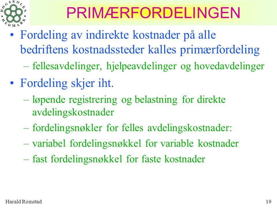 Harald Romstad19 PRIMÆRFORDELINGEN Fordeling av indirekte kostnader på alle bedriftens kostnadssteder kalles primærfordeling –fellesavdelinger, hjelpeavdelinger og hovedavdelinger Fordeling skjer iht.