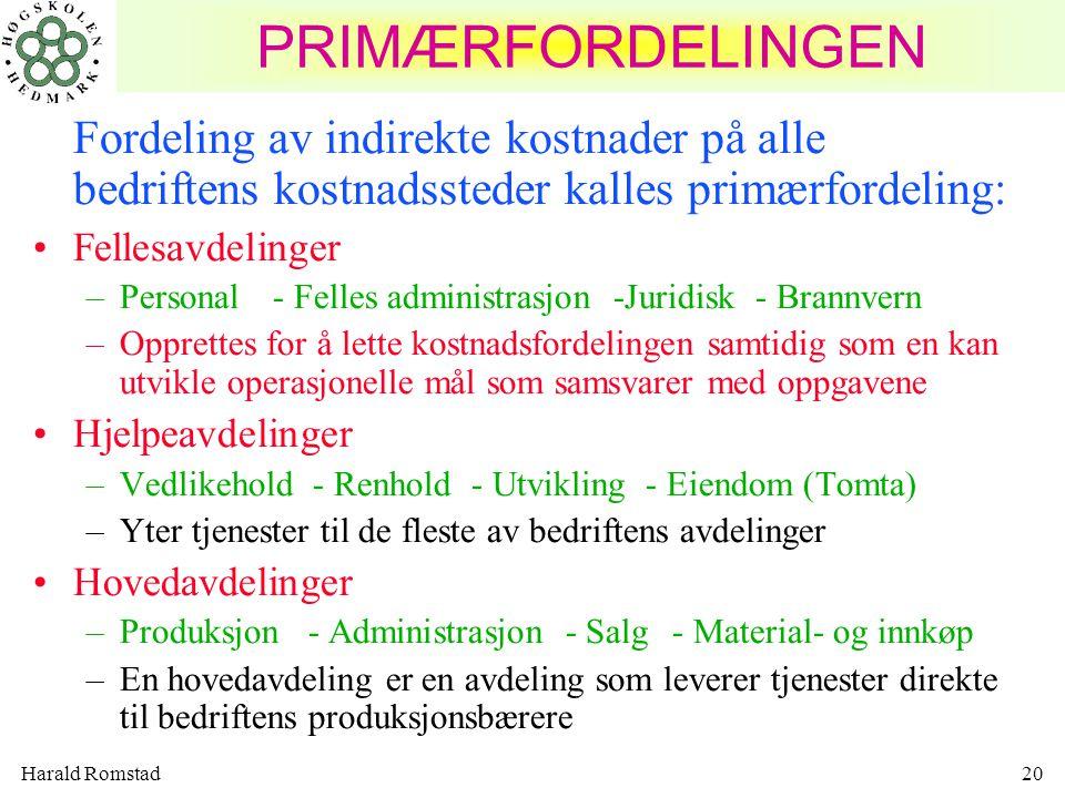 Harald Romstad20 PRIMÆRFORDELINGEN Fordeling av indirekte kostnader på alle bedriftens kostnadssteder kalles primærfordeling: Fellesavdelinger –Person
