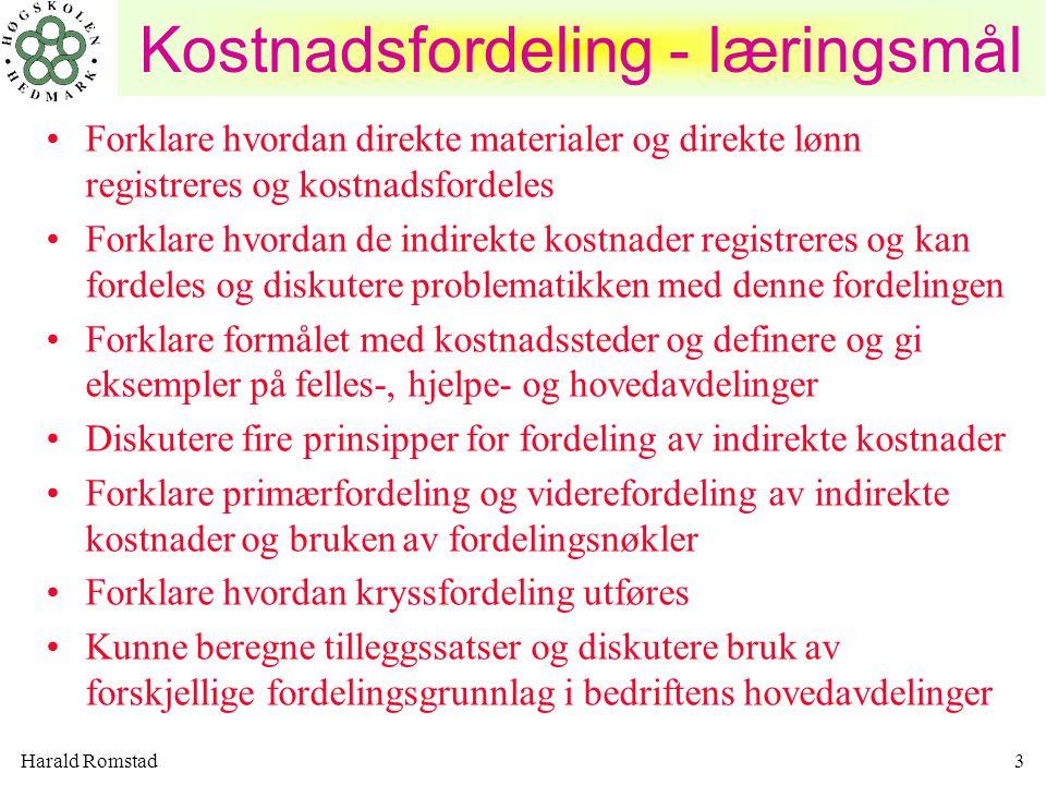 Harald Romstad3 Forklare hvordan direkte materialer og direkte lønn registreres og kostnadsfordeles Forklare hvordan de indirekte kostnader registrere