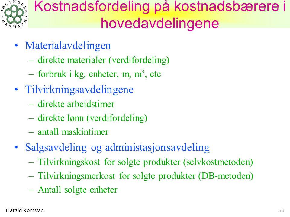 Harald Romstad33 Materialavdelingen –direkte materialer (verdifordeling) –forbruk i kg, enheter, m, m 3, etc Tilvirkningsavdelingene –direkte arbeidstimer –direkte lønn (verdifordeling) –antall maskintimer Salgsavdeling og administasjonsavdeling –Tilvirkningskost for solgte produkter (selvkostmetoden) –Tilvirkningsmerkost for solgte produkter (DB-metoden) –Antall solgte enheter Kostnadsfordeling på kostnadsbærere i hovedavdelingene