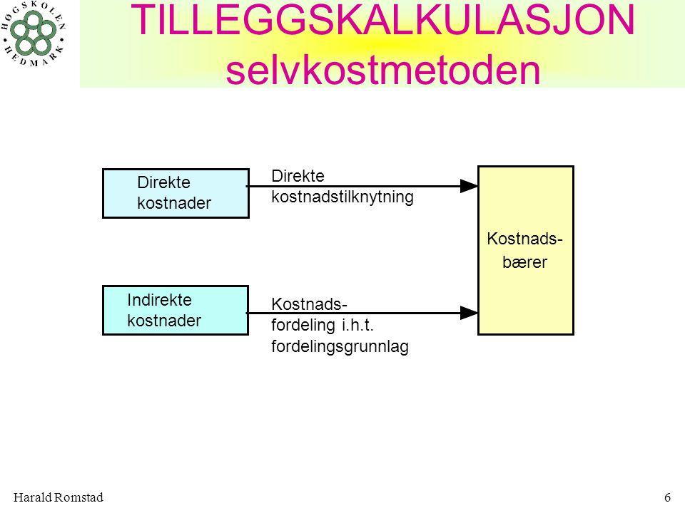 Harald Romstad6 TILLEGGSKALKULASJON selvkostmetoden Direkte kostnader Indirekte kostnader Kostnads- bærer Direkte kostnadstilknytning Kostnads- fordeling i.h.t.
