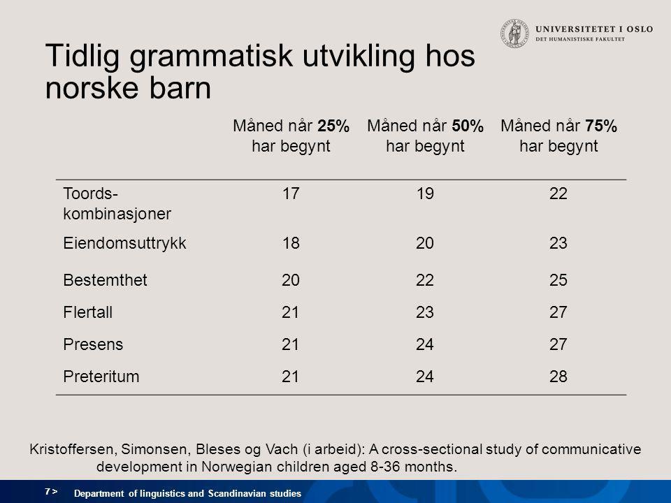 8 > Department of linguistics and Scandinavian studies Tilegnelse av flertall og eiendomsuttrykk Flertall Eiendomsuttrykk