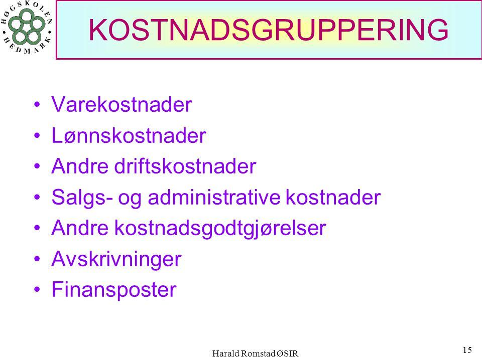 Harald Romstad ØSIR 14 KOSTNADER I PERIODEN Forsikringseksempel Forsikringene betales 1 gang pr. år, den 01.01. premien er kr 240 000 pr. år. Hva blir