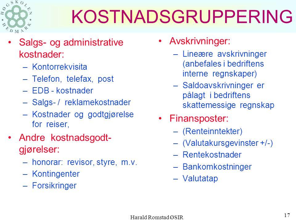 Harald Romstad ØSIR 16 KOSTNADSGRUPPERING Varekostnader: –Råvarer –Halvfabrikata –Hjelpematerialer Lønnskostnader: –Tidlønn og/eller akkordlønn –Ferie