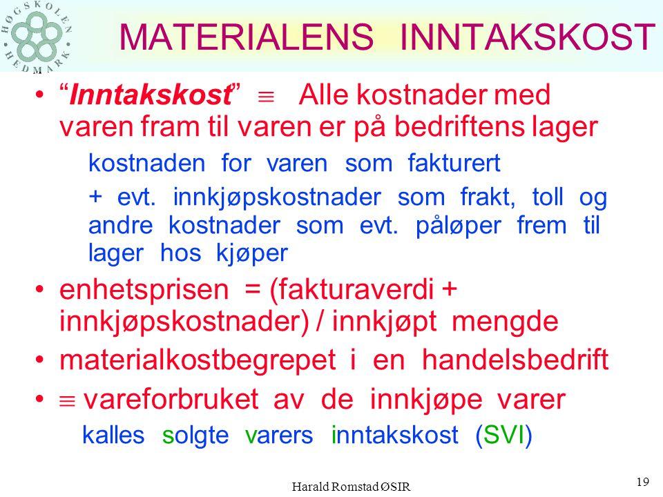 Harald Romstad ØSIR 18 VAREKOSTNADER Råvarer –produkter og varer som benyttes i sin tilnærmete opprinnelige form Halvfabrikata –delkomponenter og fore