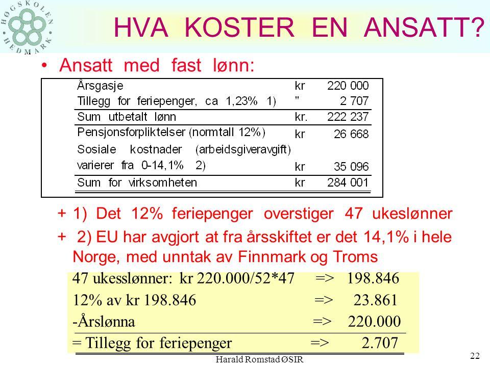 Harald Romstad ØSIR 21 HVA KOSTER EN ANSATT I TILLEGG TIL SELVE TIMELØNNEN: Bevegelige helligdager (1. juledag, 1. mai, 17. mai, etc.) + 4,5 % Feriepe