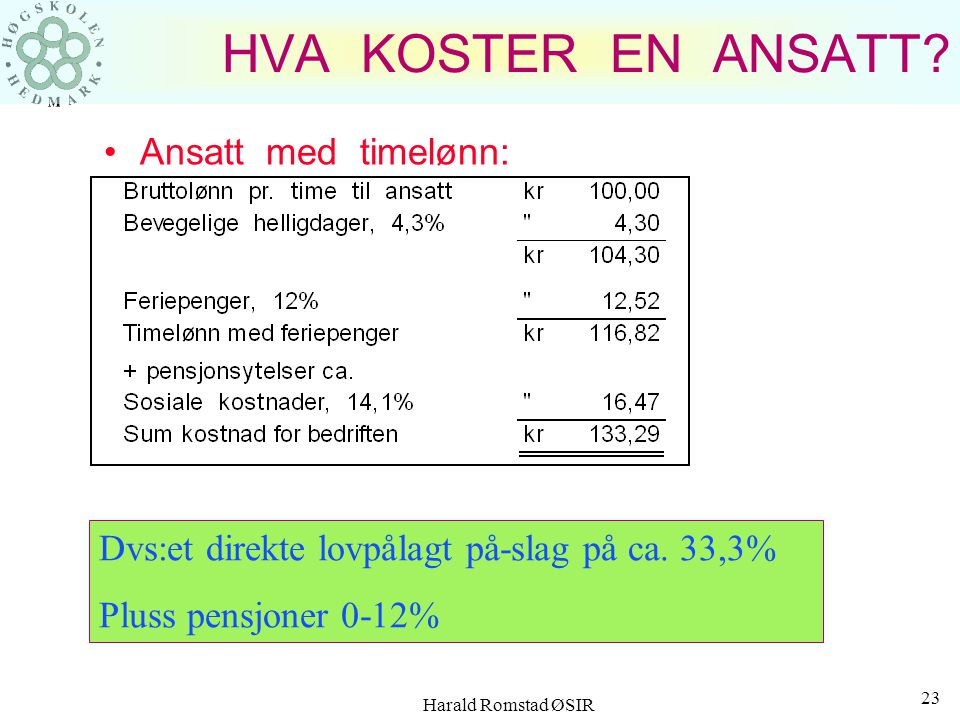 Harald Romstad ØSIR 22 HVA KOSTER EN ANSATT? Ansatt med fast lønn: +1) Det 12% feriepenger overstiger 47 ukeslønner + 2) EU har avgjort at fra årsskif
