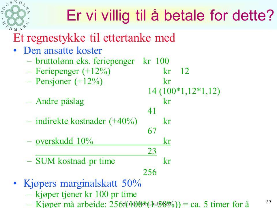 Harald Romstad ØSIR 24 HVA KOSTER EN ANSATT? Gjennomsnittlige tall for lønn under sykdom, lønn under korte velferds- permisjoner o.l. er ca. 4,5%. Er