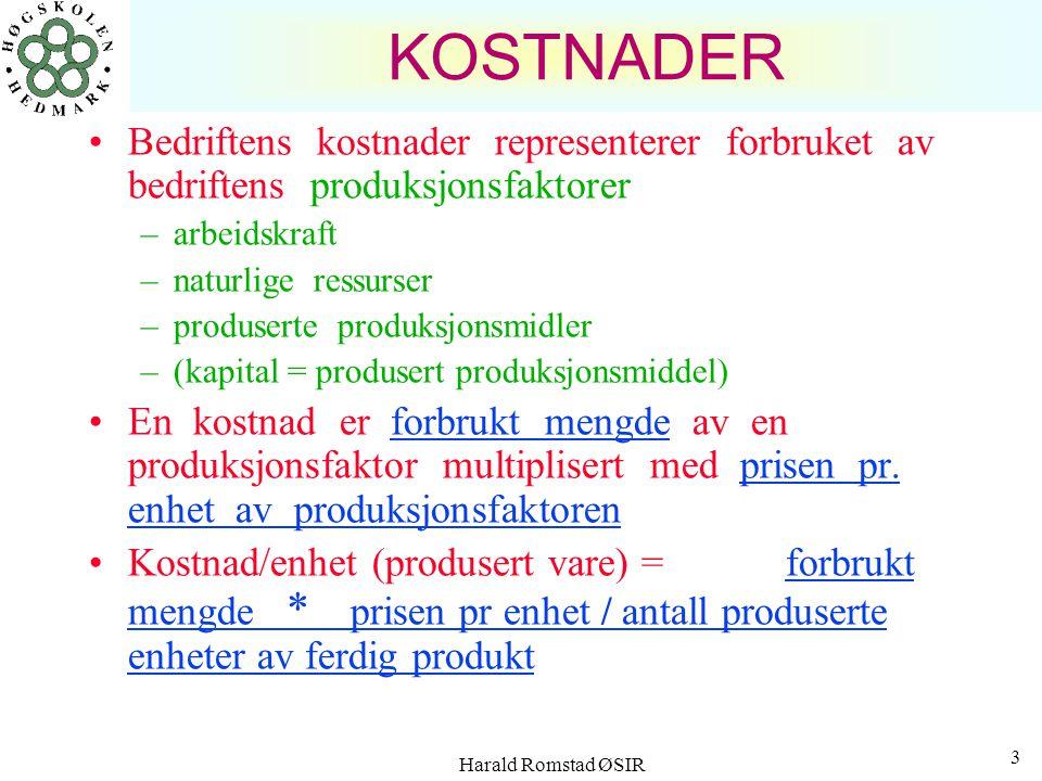 Harald Romstad ØSIR 3 KOSTNADER Bedriftens kostnader representerer forbruket av bedriftens produksjonsfaktorer –arbeidskraft –naturlige ressurser –produserte produksjonsmidler –(kapital = produsert produksjonsmiddel) En kostnad er forbrukt mengde av en produksjonsfaktor multiplisert med prisen pr.