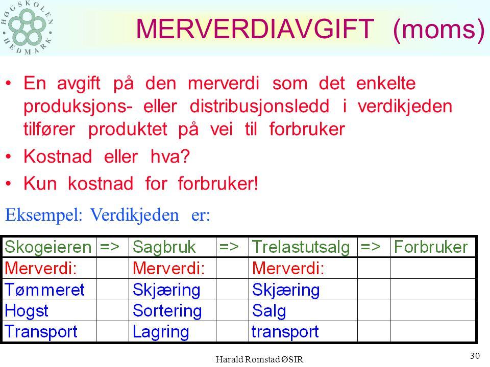 Harald Romstad ØSIR 29 Litt regnskapsstatistikk