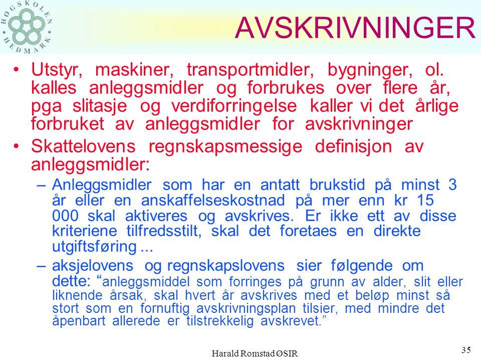 Harald Romstad ØSIR 34 INVESTERINGSAVGIFT En særavgift som har påløpt anskaffelseskostnaden for alle investeringer innen handels- og offshorevirksomhe