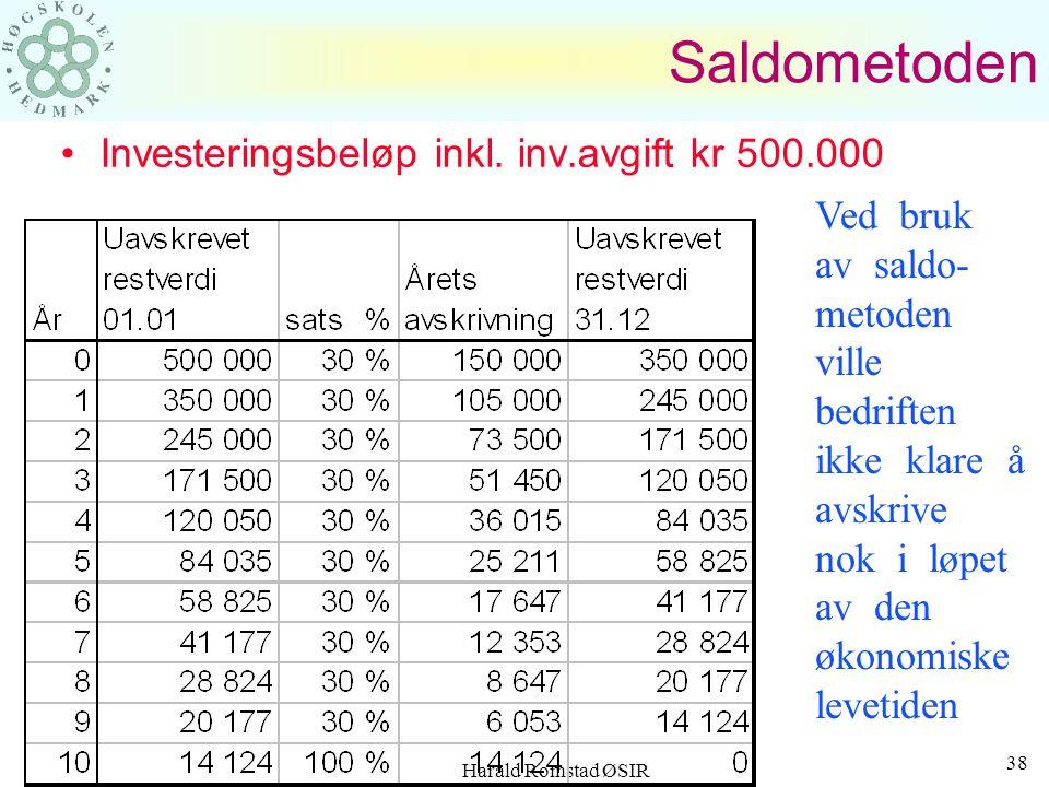 Harald Romstad ØSIR 37 DEGRESSIVE AVSKRIVNINGER Bedriften kan her benytte både saldoavskrivninger og årssiffermetoden Saldometoden: –Metoden forutsett
