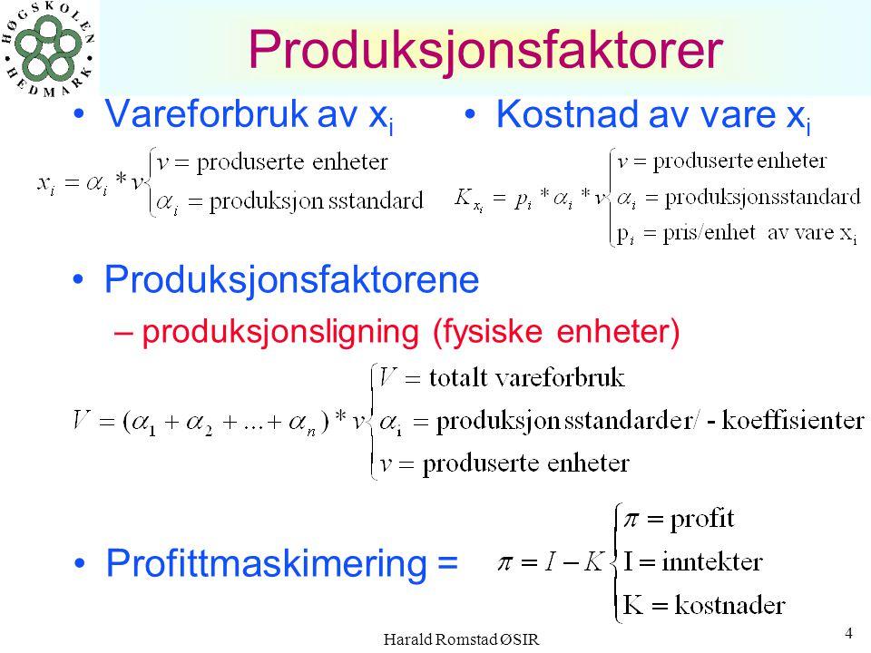 Harald Romstad ØSIR 4 Produksjonsfaktorer Vareforbruk av x i Produksjonsfaktorene –produksjonsligning (fysiske enheter) Kostnad av vare x i Profittmaskimering =
