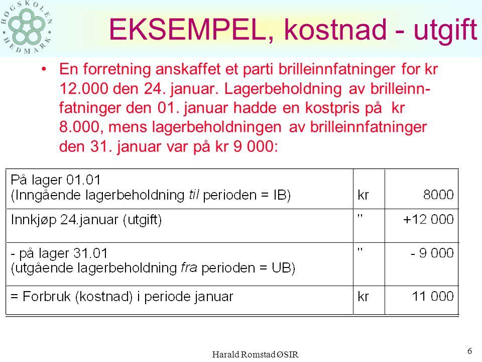Harald Romstad ØSIR 5 TIDSAVGRENSNINGER Bedriften pådrar seg en utgift ved anskaffelse av varer og tjenester - skjer på et gitt tidspunkt Et forbruk i