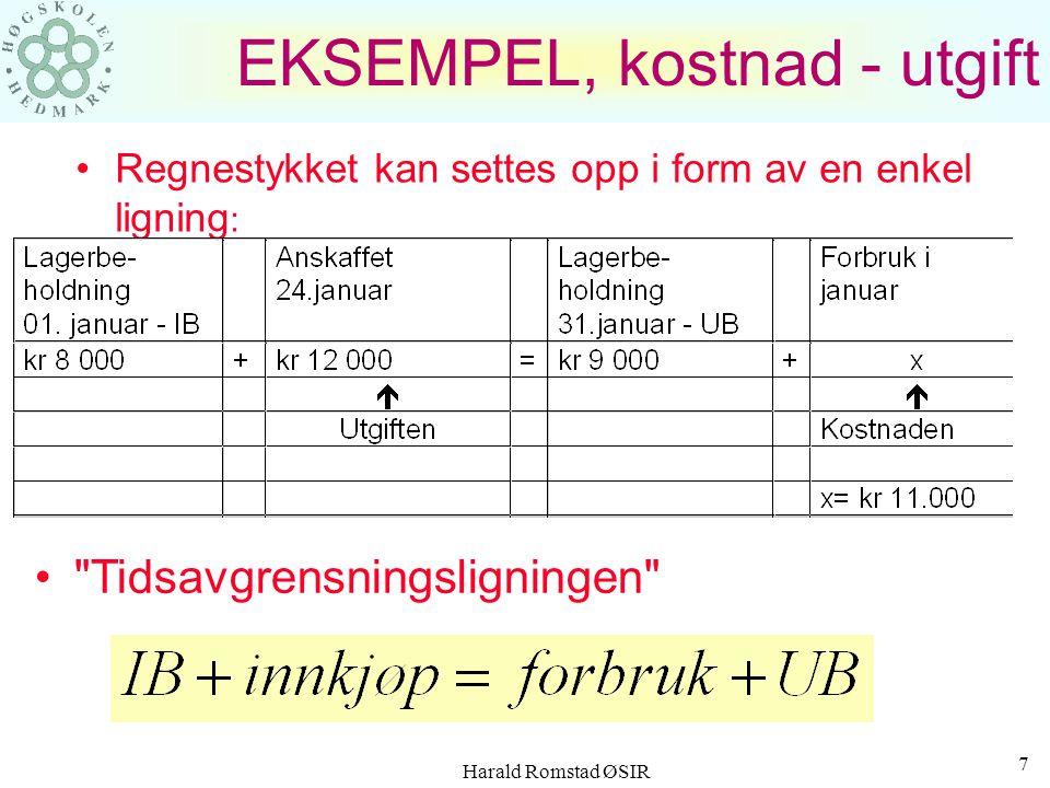 Harald Romstad ØSIR 7 EKSEMPEL, kostnad - utgift Regnestykket kan settes opp i form av en enkel ligning : Tidsavgrensningsligningen