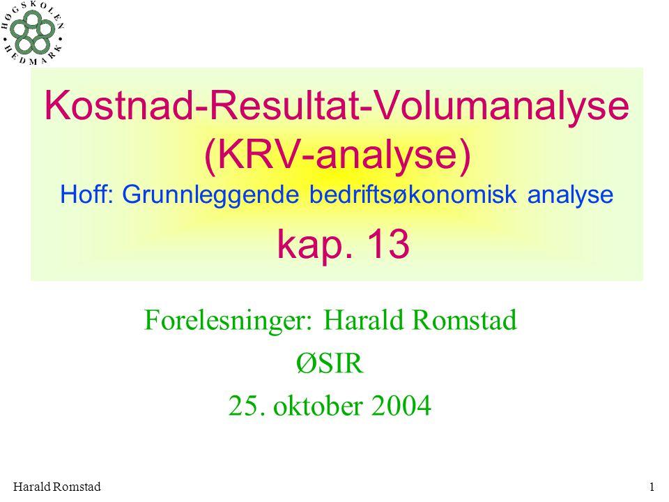 Harald Romstad22 I juni 19x6 solgte bedriften bare 1000 vinduer, dette gir følgende månedsresultat NULLPUNKT = BREAK EVEN x=FK/DBpr enhet = 112.500/80 = 1.406 enheter Nullpunkt (NP)= nedre dekningspunkt = break even TI=FK+VEK*x TI=p*x gir p*x=FK+VEK*x x=FK/(p-VEK)
