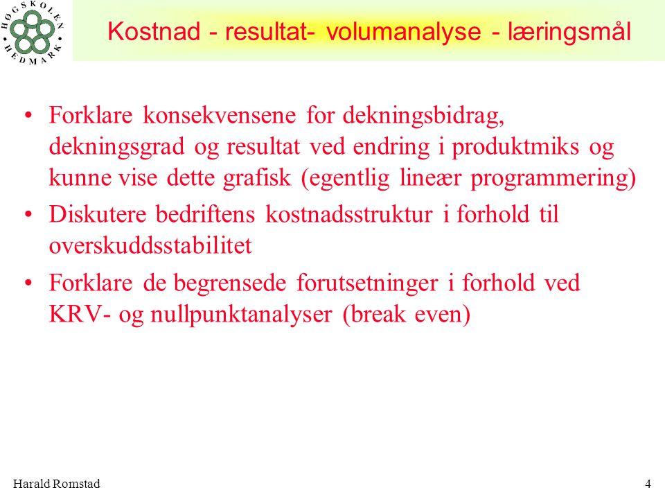 Harald Romstad45 KRV-ANALYSE I FLERVAREBEDRIFTER Nøkkeltallene for nullpunktsanalysen blir: Dekningsgraden (DG)= (DB/TI)100% = (kr.