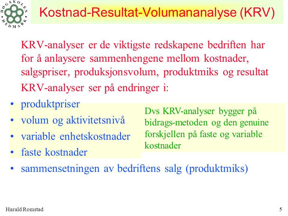 Harald Romstad46 KONSEKVENSENE AV ENDRET PRODUKTMIKS Med produktmiks menes den forholdsmessige andel de enkelte produkter utgjør av bedriftens samlede salg.