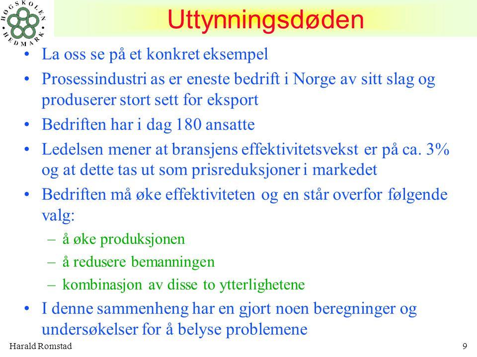 Harald Romstad30 NULLPUNKTSANALYSE nullpunkt = break even = Nedre dekningspunktNedre dekningspunkt Bedriften oppnår 0-resultat når TI = TK Nullpunktsomsetningen i kroner: –TI 0 = FK+VK Nullpunktsomsetningen uttrykt i antall enheter: –x 0 = FK/DB pr enhet DB=dekningsbidrag