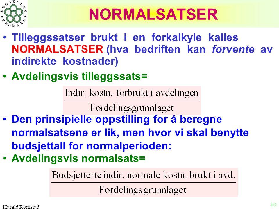 Harald Romstad 10 NORMALSATSER Tilleggssatser brukt i en forkalkyle kalles NORMALSATSER (hva bedriften kan forvente av indirekte kostnader) Avdelingsv