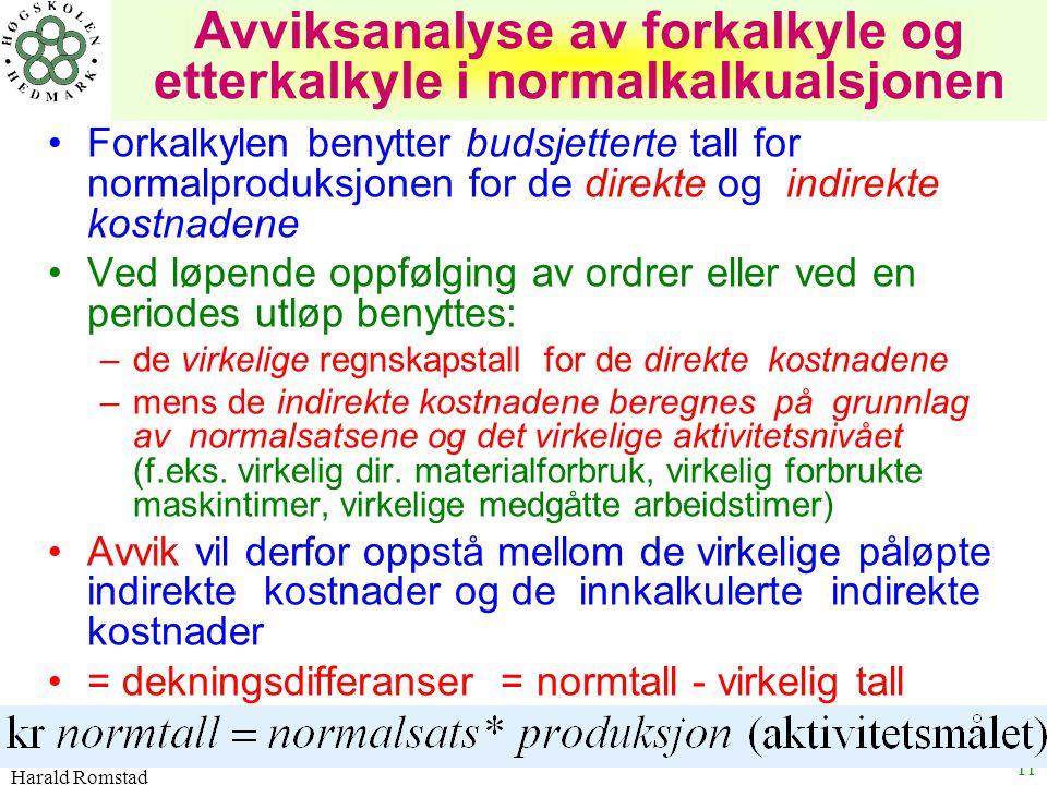 Harald Romstad 11 Avviksanalyse av forkalkyle og etterkalkyle i normalkalkualsjonen Forkalkylen benytter budsjetterte tall for normalproduksjonen for