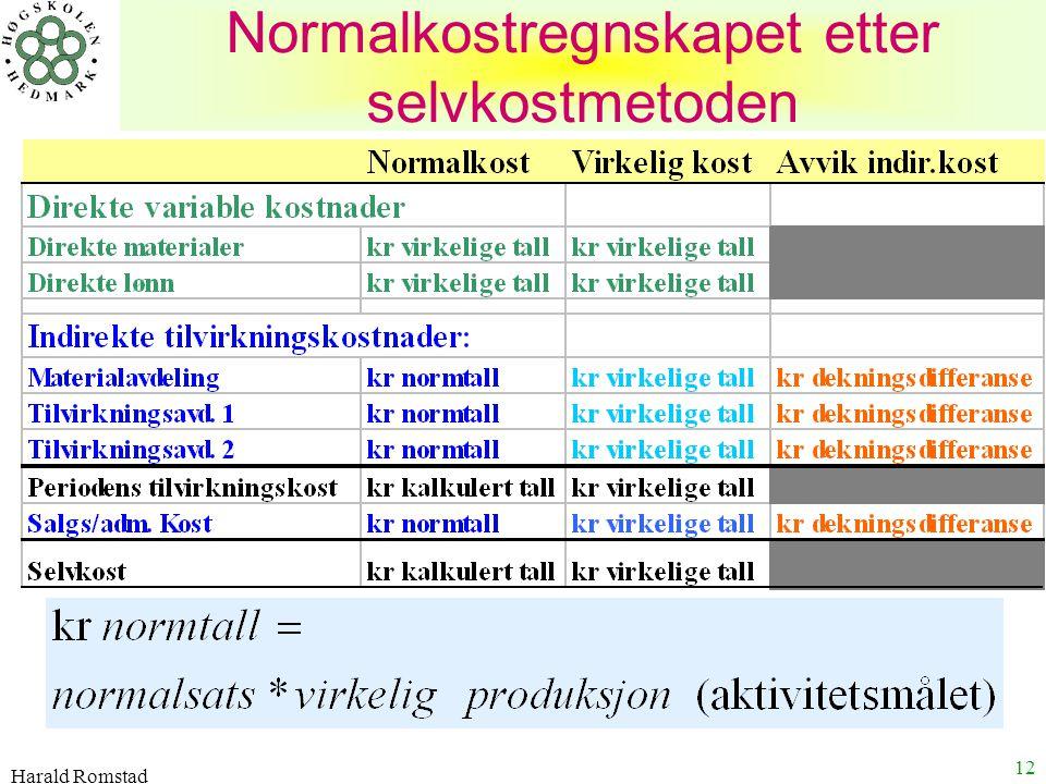 Harald Romstad 12 Normalkostregnskapet etter selvkostmetoden