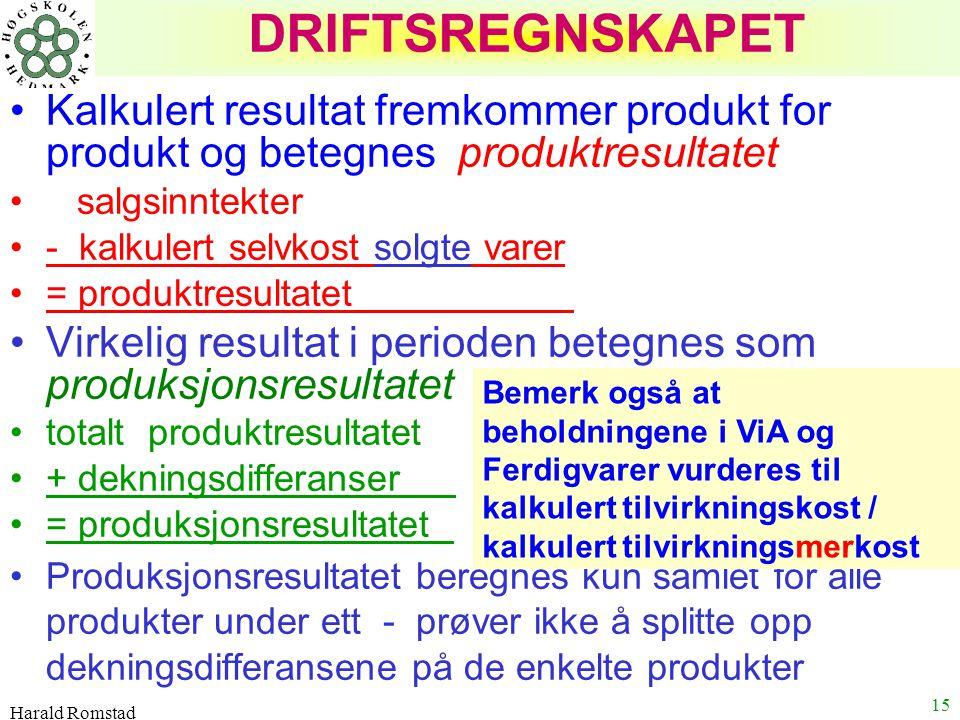 Harald Romstad 15 DRIFTSREGNSKAPET Kalkulert resultat fremkommer produkt for produkt og betegnes produktresultatet salgsinntekter - kalkulert selvkost