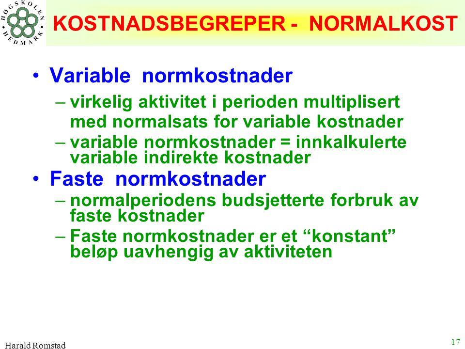 Harald Romstad 17 KOSTNADSBEGREPER - NORMALKOST Variable normkostnader –virkelig aktivitet i perioden multiplisert med normalsats for variable kostnad