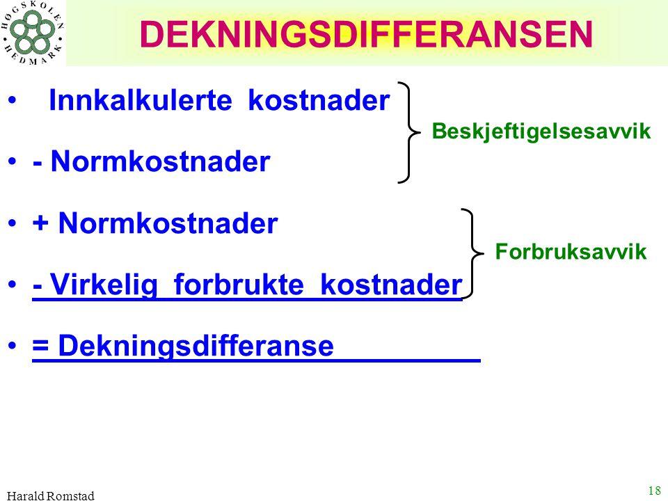 Harald Romstad 18 DEKNINGSDIFFERANSEN Innkalkulerte kostnader - Normkostnader + Normkostnader - Virkelig forbrukte kostnader = Dekningsdifferanse ' Be