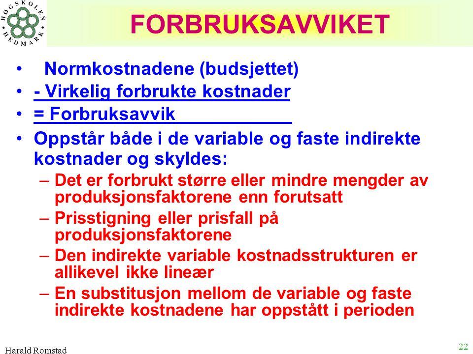 Harald Romstad 22 FORBRUKSAVVIKET Normkostnadene (budsjettet) - Virkelig forbrukte kostnader = Forbruksavvik ' Oppstår både i de variable og faste ind