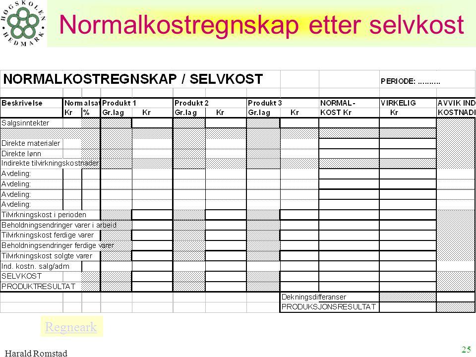 Harald Romstad 25 Normalkostregnskap etter selvkost Regneark