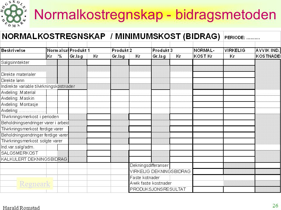 Harald Romstad 26 Normalkostregnskap - bidragsmetoden Regneark