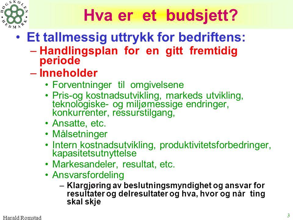 Harald Romstad 3 Hva er et budsjett? Et tallmessig uttrykk for bedriftens: –Handlingsplan for en gitt fremtidig periode –Inneholder Forventninger til