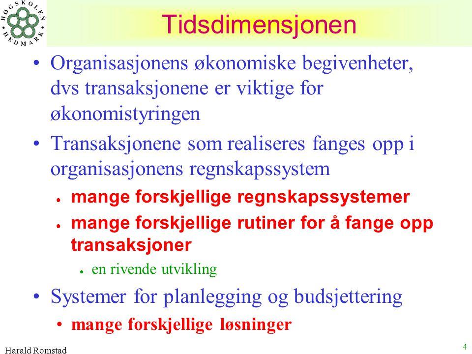 Harald Romstad 4 Organisasjonens økonomiske begivenheter, dvs transaksjonene er viktige for økonomistyringen Transaksjonene som realiseres fanges opp
