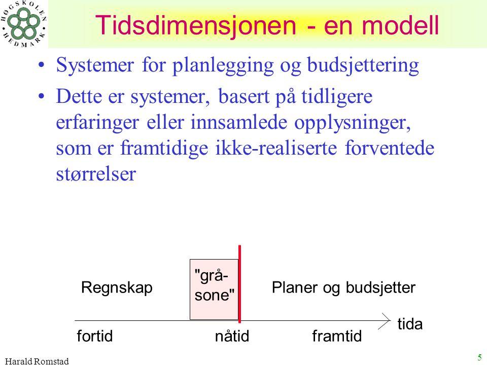 Harald Romstad 5 Systemer for planlegging og budsjettering Dette er systemer, basert på tidligere erfaringer eller innsamlede opplysninger, som er fra