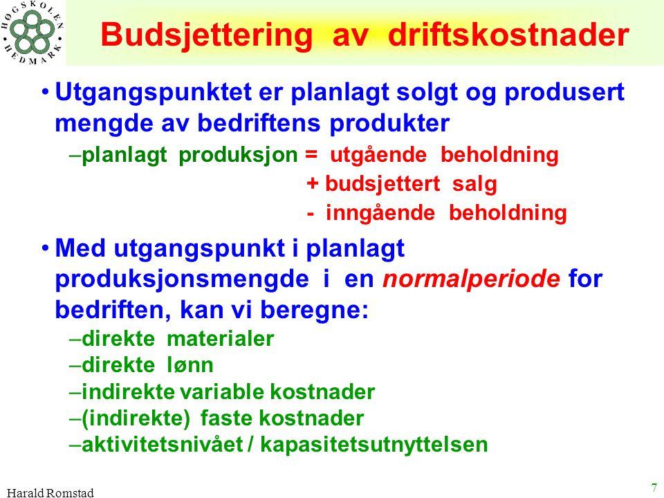 Harald Romstad 7 Budsjettering av driftskostnader Utgangspunktet er planlagt solgt og produsert mengde av bedriftens produkter –planlagt produksjon =