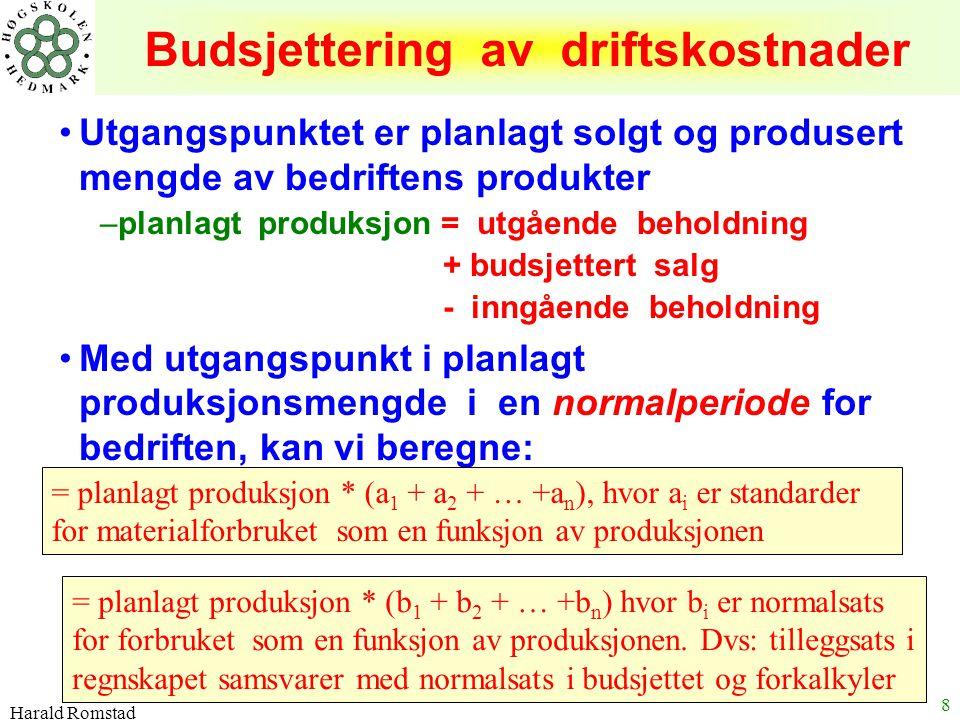 Harald Romstad 8 Budsjettering av driftskostnader Utgangspunktet er planlagt solgt og produsert mengde av bedriftens produkter –planlagt produksjon =