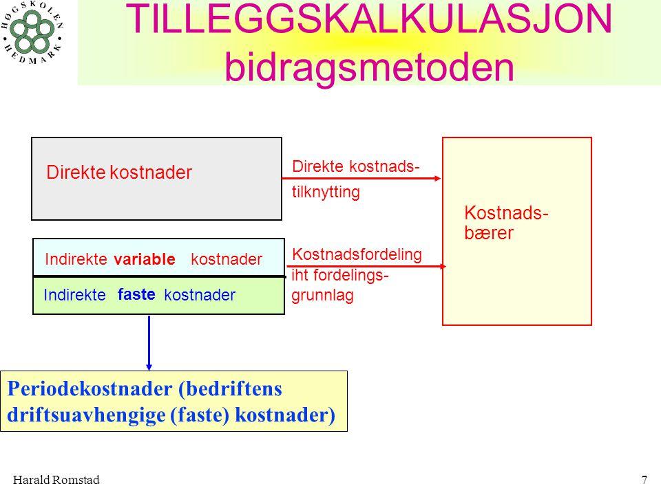 Harald Romstad28 Materialavdelingen –direkte materialer (verdifordeling) –forbruk i kg, enheter, m, m 3, etc Tilvirkningsavdelingene –direkte arbeidstimer –direkte lønn (verdifordeling) –antall maskintimer Salgsavdeling og administasjonsavdeling –Tilvirkningskost for solgte produkter (selvkostmetoden) –Tilvirkningsmerkost for solgte produkter (DB-metoden) –Antall solgte enheter Kostnadsfordeling på kostnadsbærere i hovedavdelingene