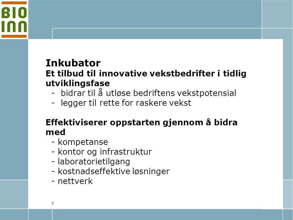 8 Husdyrmiljøene: BIOINNOVASJON FORSKNING OG UTVIKLING Kommersialisering/Marked GeninovaBioBank AS
