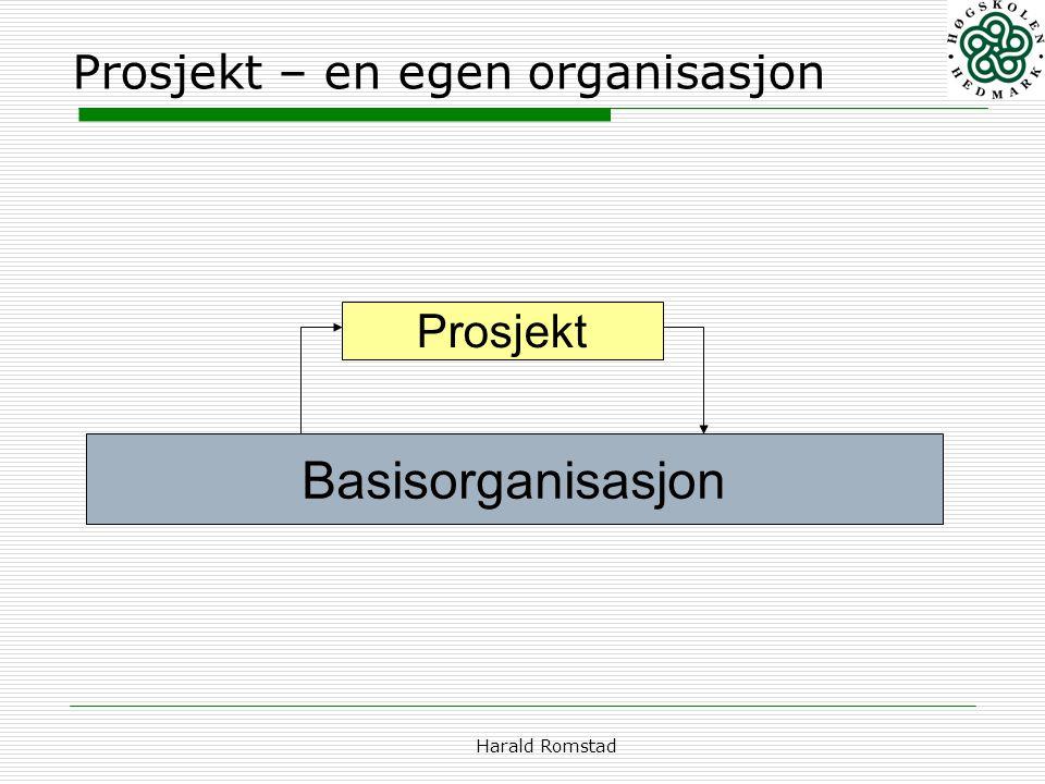 Harald Romstad Prosjekt – en egen organisasjon Prosjekt Basisorganisasjon