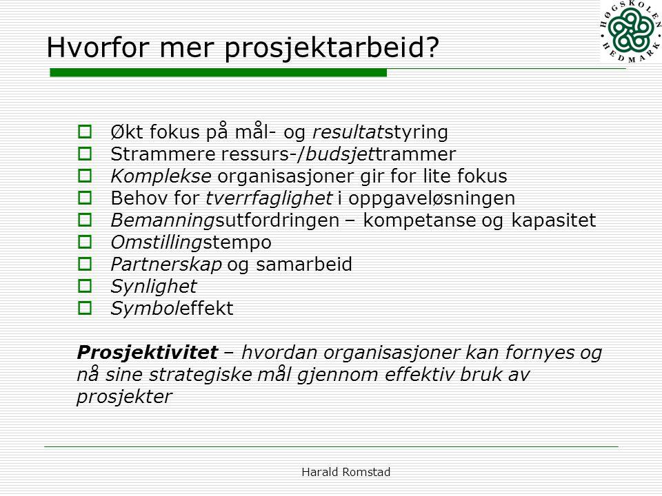 Harald Romstad Hvorfor mer prosjektarbeid?  Økt fokus på mål- og resultatstyring  Strammere ressurs-/budsjettrammer  Komplekse organisasjoner gir f