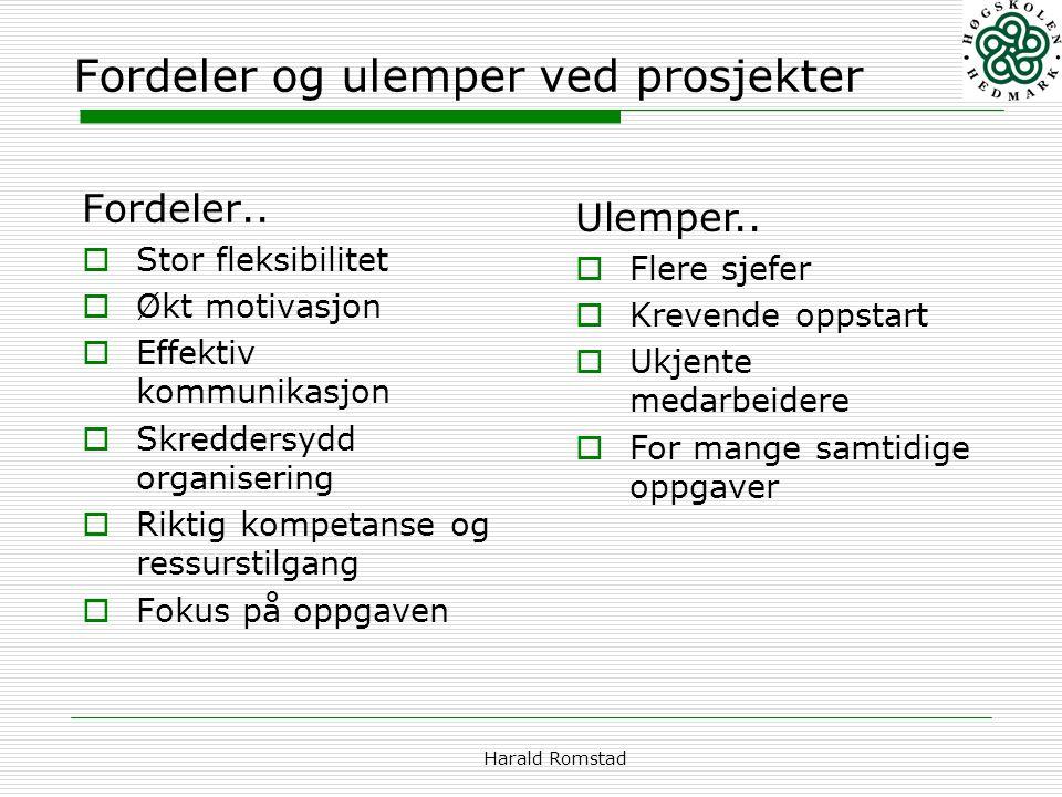 Harald Romstad Fordeler og ulemper ved prosjekter Fordeler..  Stor fleksibilitet  Økt motivasjon  Effektiv kommunikasjon  Skreddersydd organiserin