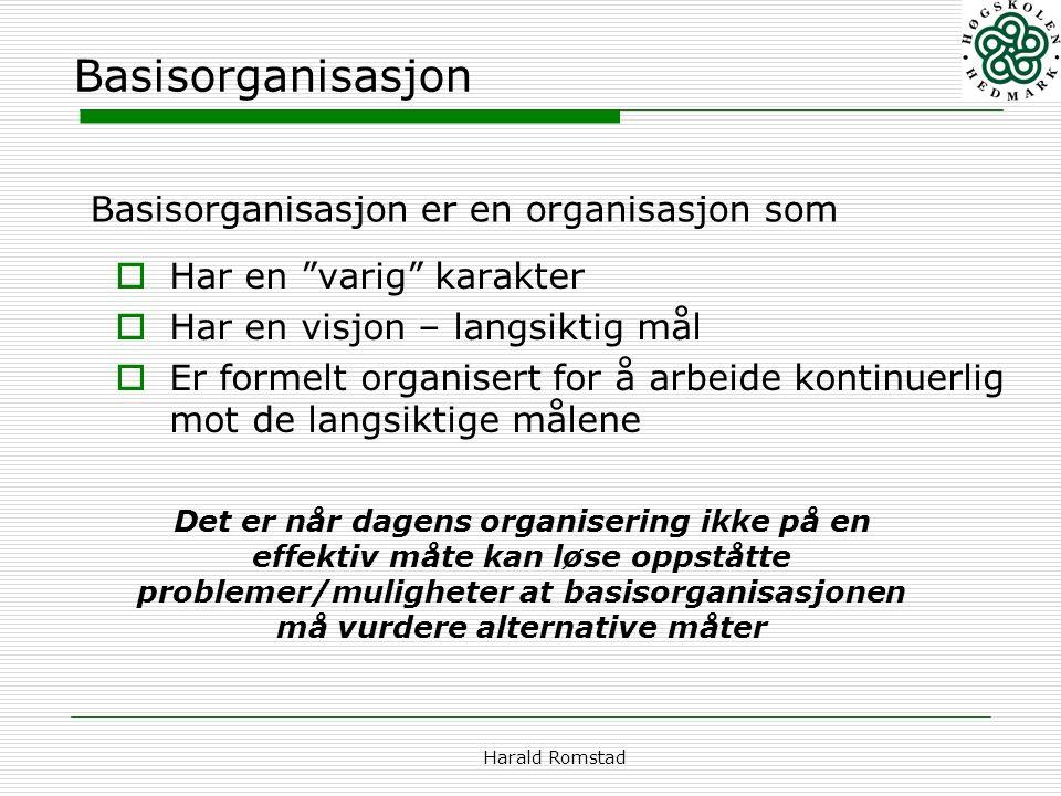 """Harald Romstad Basisorganisasjon  Har en """"varig"""" karakter  Har en visjon – langsiktig mål  Er formelt organisert for å arbeide kontinuerlig mot de"""