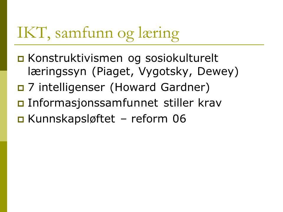 IKT, samfunn og læring  Konstruktivismen og sosiokulturelt læringssyn (Piaget, Vygotsky, Dewey)  7 intelligenser (Howard Gardner)  Informasjonssamf
