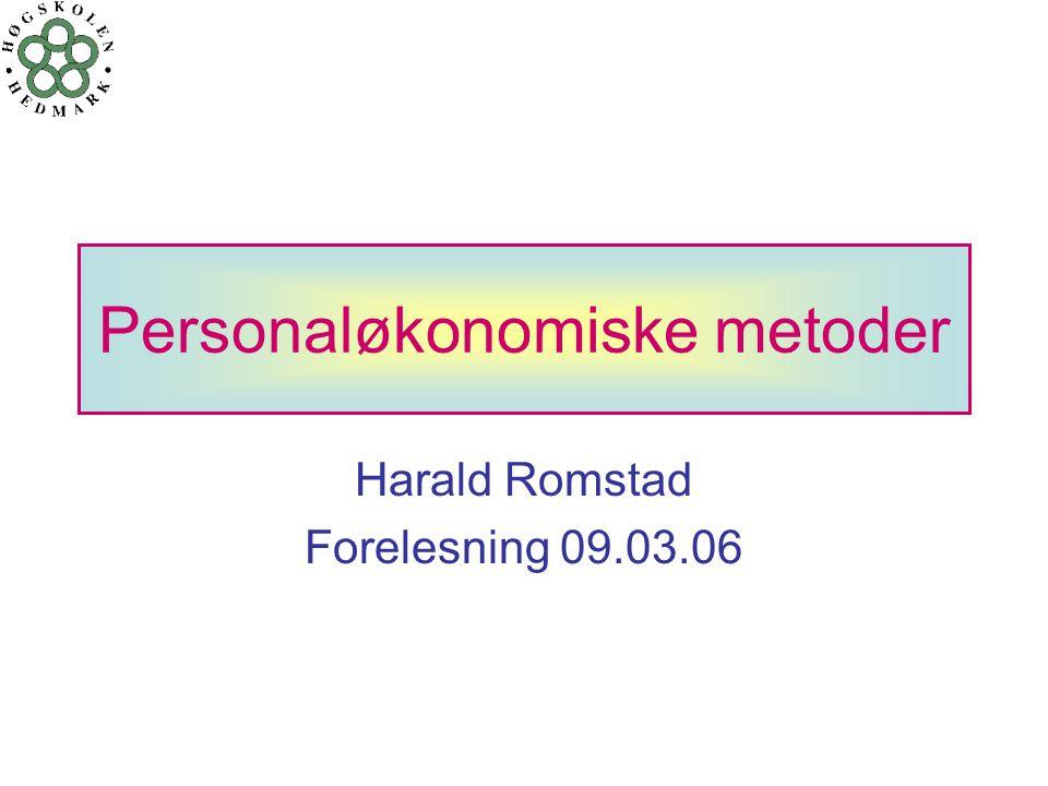 Jan Merok Paulsen & Harald Romstad22 PERSONALØKONOMISKE METODER Nyttekostnadsanalyse - nåverdikriteriet - generell form  NÅVERDIKRITERIET  B = GEVINST  C = KOSTNAD  HENSYNTAR DISKONTERINGSFAKTOREN  NV = NÅVERDI  KRAV NV > 0