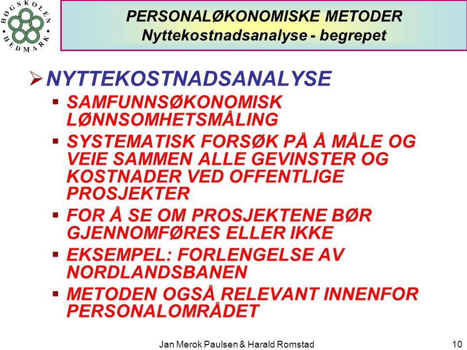 Jan Merok Paulsen & Harald Romstad10 PERSONALØKONOMISKE METODER Nyttekostnadsanalyse - begrepet  NYTTEKOSTNADSANALYSE  SAMFUNNSØKONOMISK LØNNSOMHETS