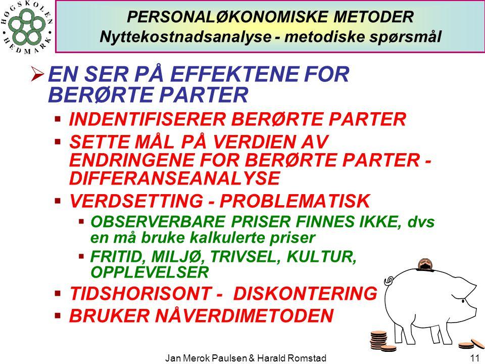 Jan Merok Paulsen & Harald Romstad11 PERSONALØKONOMISKE METODER Nyttekostnadsanalyse - metodiske spørsmål  EN SER PÅ EFFEKTENE FOR BERØRTE PARTER  I