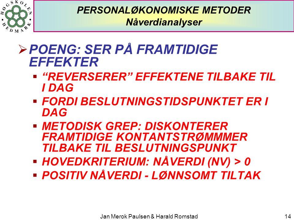"""Jan Merok Paulsen & Harald Romstad14 PERSONALØKONOMISKE METODER Nåverdianalyser  POENG: SER PÅ FRAMTIDIGE EFFEKTER  """"REVERSERER"""" EFFEKTENE TILBAKE T"""